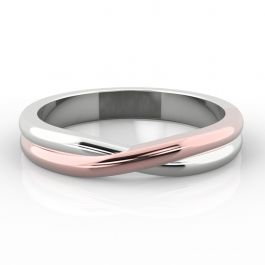 Two Tone Crossover Twist Shape | Rose Gold Inlay