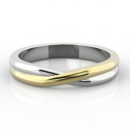 Two Tone Crossover Twist Shape | Yellow Gold Inlay