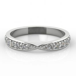 Bow Shape with Grain Set Diamonds   Palladium, Platinum, White Gold