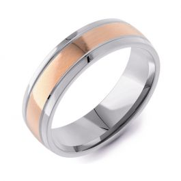 Machined Modern Court Two Tone | Rose Gold Inlay
