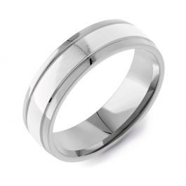 Machined Modern Court Two Tone | Un-Plated White Gold Inlay