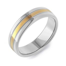 Machined Double Comfort Two Tone | Yellow Gold Inlay