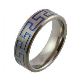 Bright Blue Hammerhead Zirconium Satin Wedding Ring