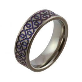 Dark Blue Heart Pattern Zirconium Satin Wedding Ring