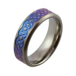 Half Circle Bright Blue to Purple Zirconium Satin Wedding Ring