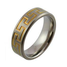 Yellow Hammerhead Zirconium Satin Wedding Ring