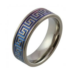 Bright  Blue Maze Pattern Zirconium Wedding Ring