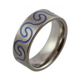 Blue Wave Pattern Zirconium Wedding Ring