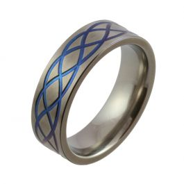 Blue Celtic Knot Zirconium Wedding Ring