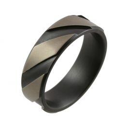 Relieved Black Zirconium Angular Sectioned Wedding Ring