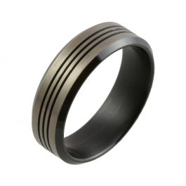 Two Tone Zirconium with Triple Grooves and Bevelled Edge Wedding Ring