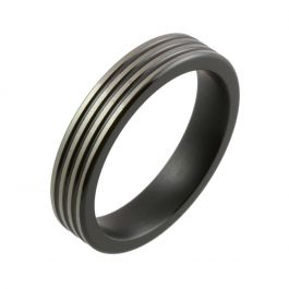 Two Tone Multi Groove Black Zirconium Wedding Ring