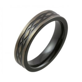 Celtic Knot with Satin Relieved Black Zirconium Wedding Ring