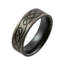 Celtic Knot Design with Relieved Black Finish Zirconium Wedding Ring