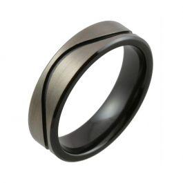 Milled Wave Design with Relieved Black Zirconium Wedding Ring