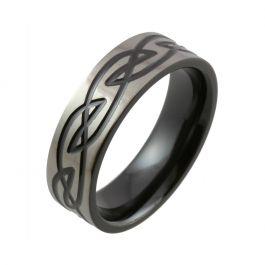 Celtic Knot Design with Polished Relieved Black Finish Zirconium Wedding Ring