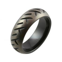 Motorbike Tyre Design with Relieved Black Zirconium Wedding Ring