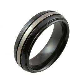Shoulder Cut Edges with Relieved Black Central Stripe Zirconium Wedding Ring