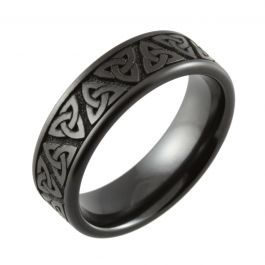 Laser Engraved Trinity Knot Black Zirconium Wedding Ring