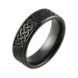 Laser Engraved Celtic Knot Inspired Black Zirconium Men's Wedding Ring