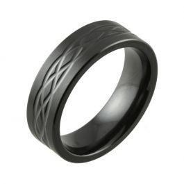 Narrow Celtic Knot Satin Finish Black Zirconium Wedding Ring
