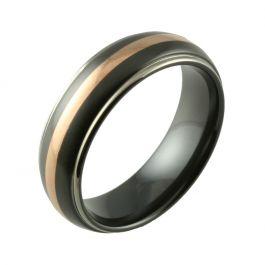 Inlaid Two Tone Black Zirconium & 18ct Rose Gold Wedding Ring