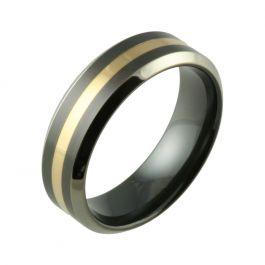 Inlaid Two Tone Bevelled Black Zirconium & 18ct Yellow Gold Wedding Ring