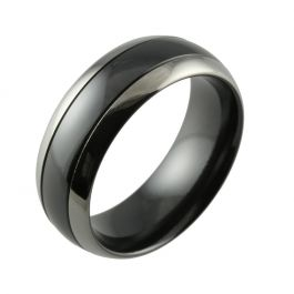 Black Zirconium Two Tone Domed & Grooved Men's Wedding Ring