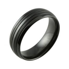 Black Zirconium Domed with Satin Stripes Men's Wedding Ring