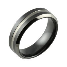 Black Zirconium Two Tone Bevelled & Central Groove Wedding Ring
