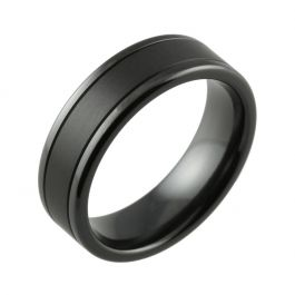 Black Zirconium Flat Court with Twin Finish Men's Wedding Ring