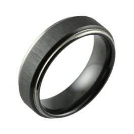 Black Zirconium Two Tone Linished & Shouldercut Men's Wedding Ring