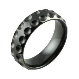 Black Zirconium Two Tone with Dots & Bevelled Edges Wedding Ring