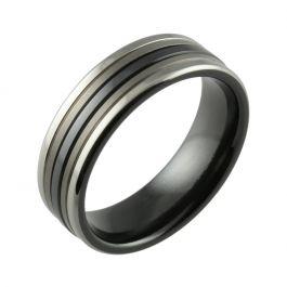 Black Zirconium Two Tone Central Stripe & Twin Finish Men's Wedding Ring