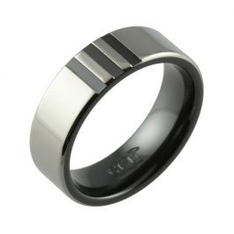 Black Zirconium Two Tone & Decorative Stripe Detail Wedding Ring