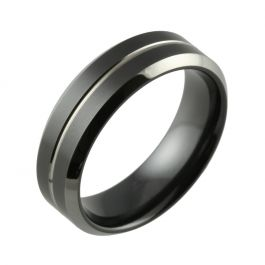 Black Zirconium Two Tone Bevelled & Small Central Groove Wedding Ring