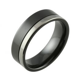 Black Zirconium Two Tone Offset Groove Men's Wedding Ring