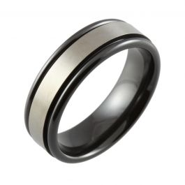 Black Machined Top Two Tone Wedding Ring