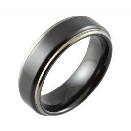 Black Shouldercut Edges Two Tone Wedding Ring