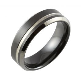 Black Two Tone Bevelled Edge & Offset Groove Wedding Ring