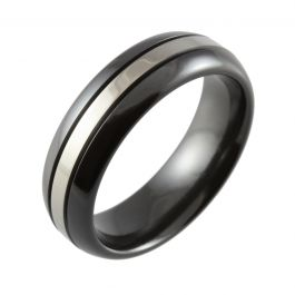 Black Domed with Grooves Two Tone Wedding Ring