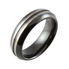 Black Twin Stripe Two Tone Wedding Ring
