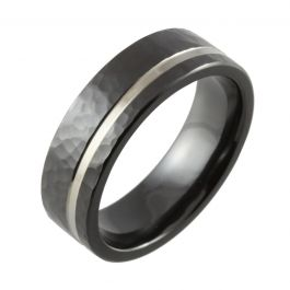 Hammered with Offset Two Tone Channel Black Zirconium Wedding Band
