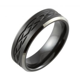 Celtic Knot & Bevelled Edge Two Tone Black Zirconium Wedding Ring