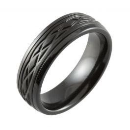 Celtic Knot Machined Modern Court Black Zirconium Ring
