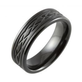 Celtic Knot Machined Flat Court Black Zirconium Ring