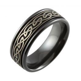 Relieved Celtic Knot Laser Engraved Men's Black Ring