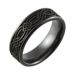 Laser Engraved Celtic Knot Flat Top Black Zirconium Ring