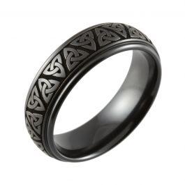 Laser Engraved Trinity Style Knot & Shouldercut Black Zirconium Ring