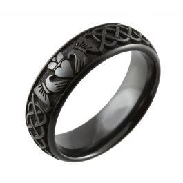 Laser Engraved Claddagh Design Black Zirconium Ring